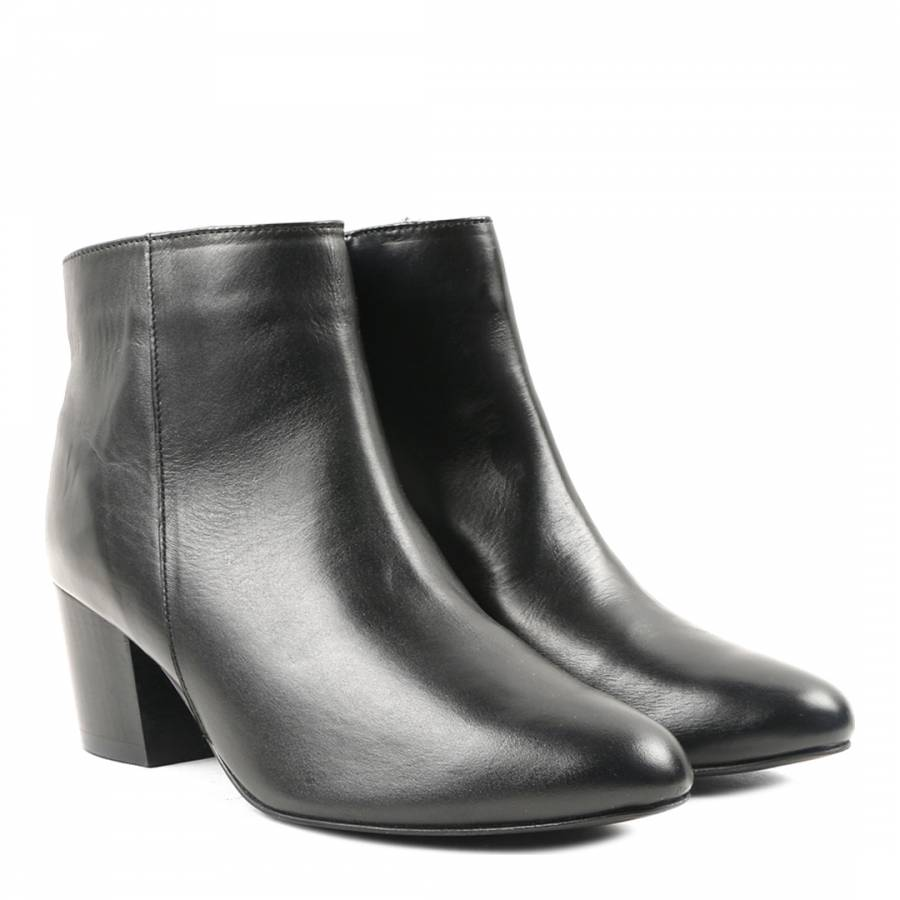 c712f8860e4 Black Leather Heel Coden Ankle Boot - BrandAlley