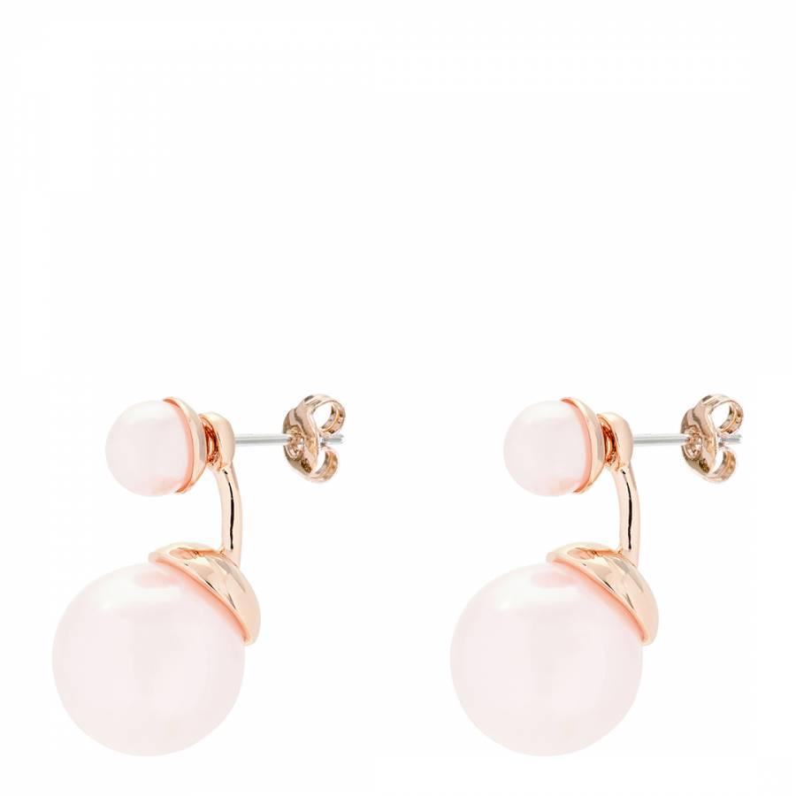 1a8d5e92d Pink/Rose Gold Deede Double Drop Pearl Earrings - BrandAlley