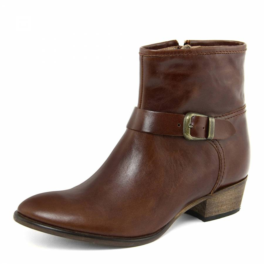 brown leather buckle ankle boots brandalley