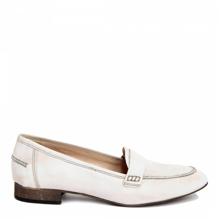 da2e08edb4f Giorgio Picino Off White Leather Used Effect Loafer Shoes