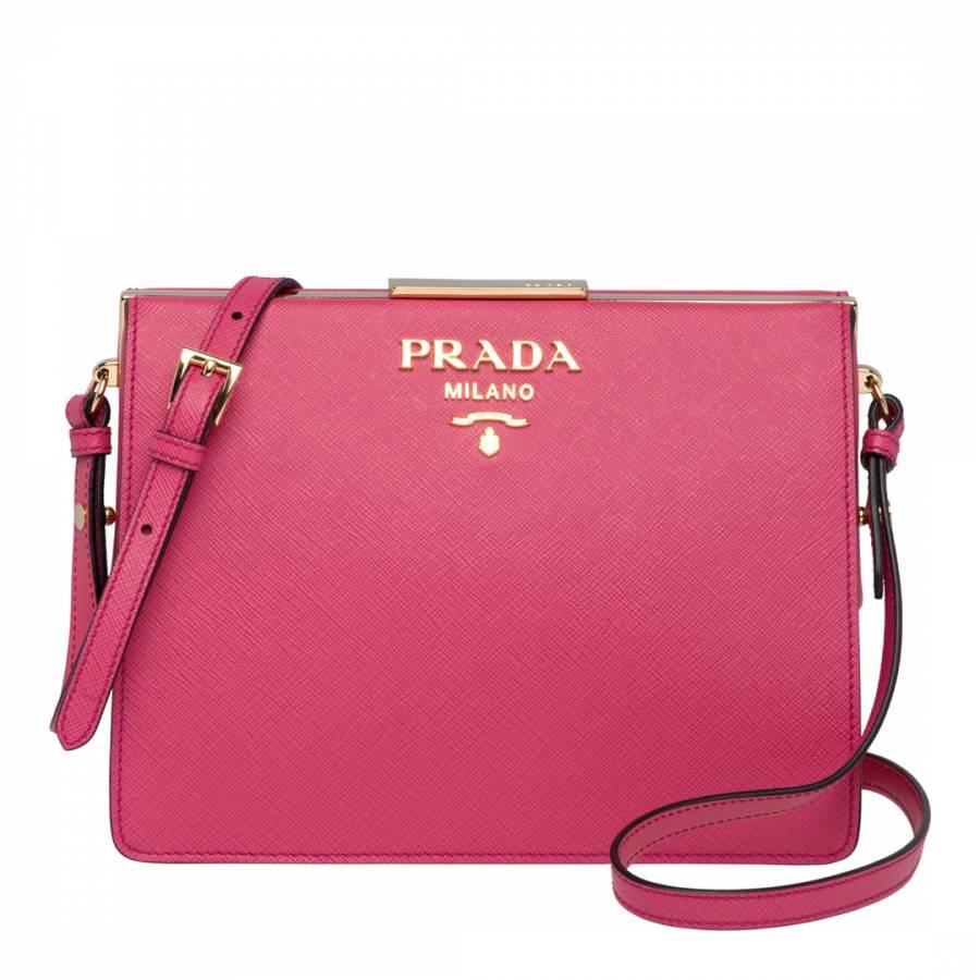 417925b007 ... italy prada pink prada leather light frame shoulder bag c2817 e57bc