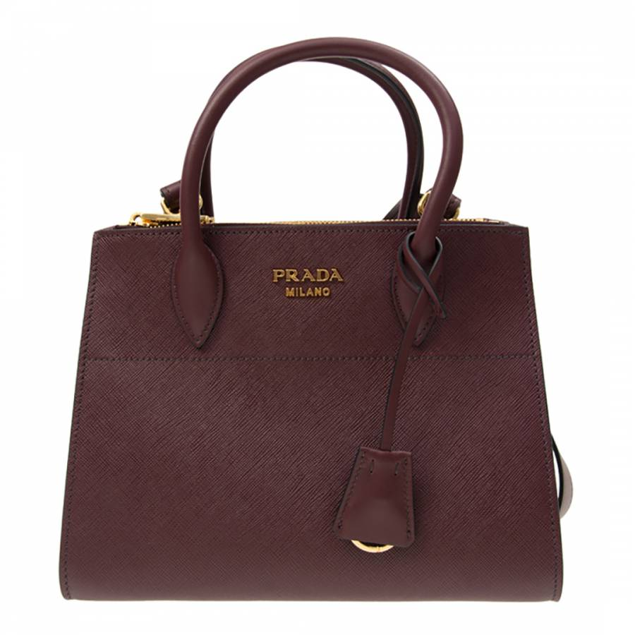 5c146185bd2f Burgundy Small Leather Paradigme Tote Bag - BrandAlley