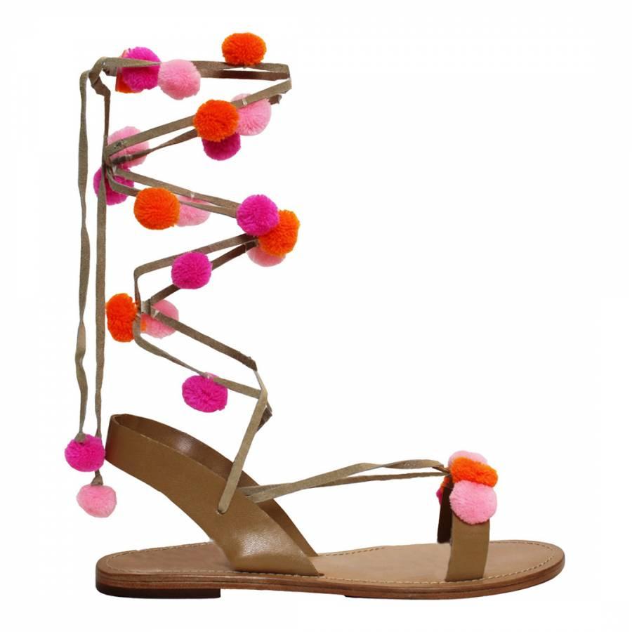 Pink Victoria Pom Sandals Brandalley High Heel Slides With Pompoms Aspiga
