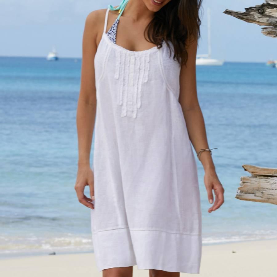 b141c218f7 White Cayo Linen Sundress - BrandAlley