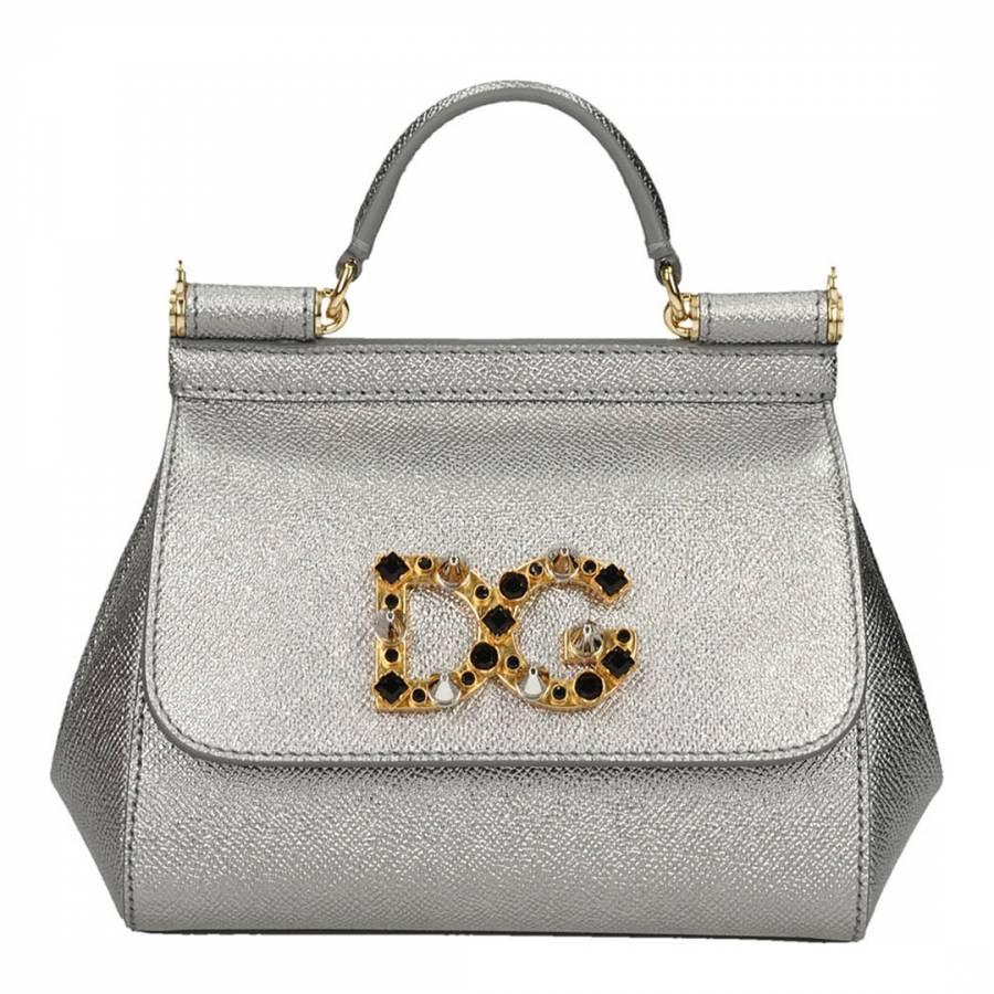 8e2cfdaac66a Dolce   Gabbana Silver Leather Mini Sicily Shoulder Bag