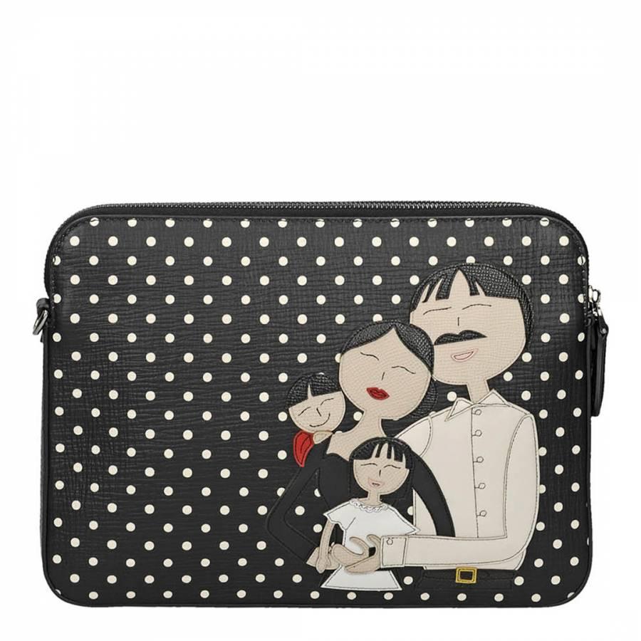 3ae69b1bc7 Dolce   Gabbana Black Leather Polka Dot Print DG Family Patch Clutch Bag