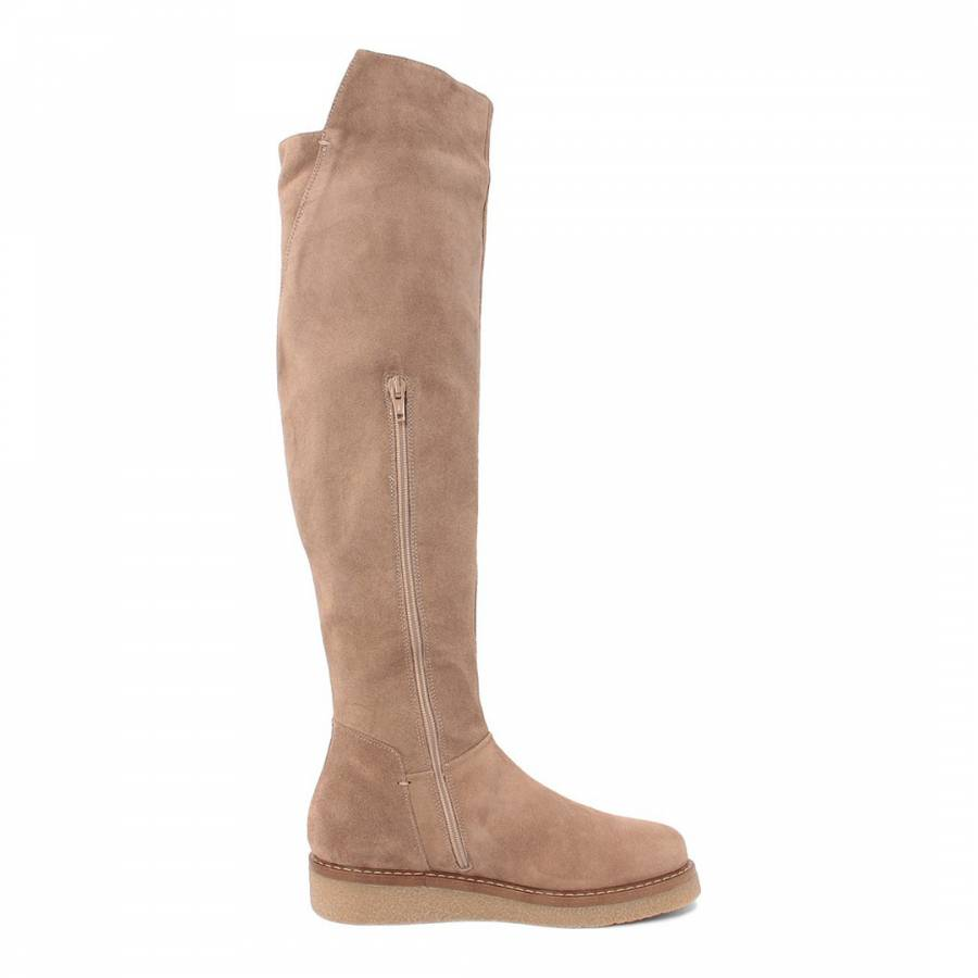 5d2b61c5a3b Beige Suede Knee Boots