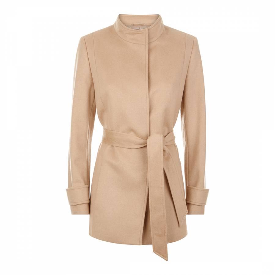 Beige Wool Blend Short Belted Coat
