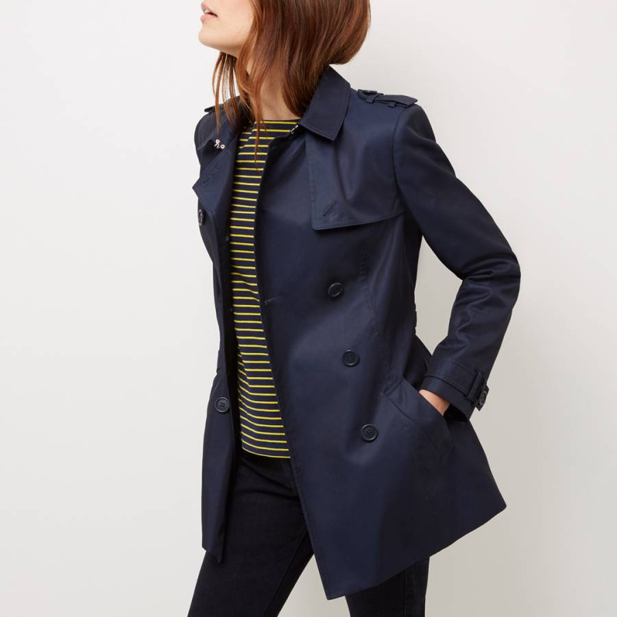 clear-cut texture complete in specifications bottom price Navy Short Trench Coat - BrandAlley