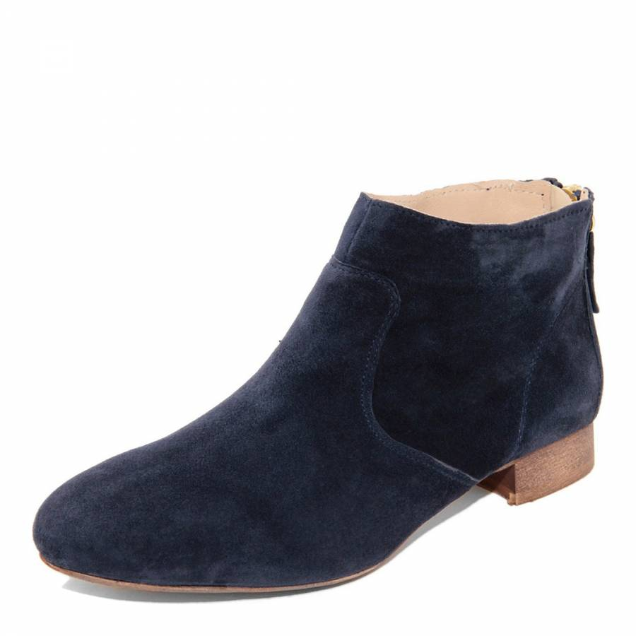 Navy Blue Suede Ankle Boots Brandalley
