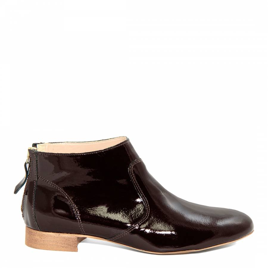 7e41a2e581a4 Chocolate Patent Leather Ankle Boots - BrandAlley