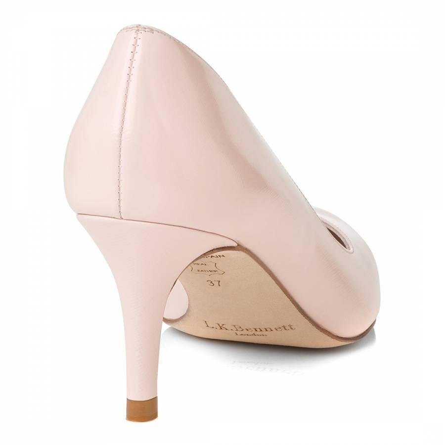 pale pink patent mid heel court shoe brandalley
