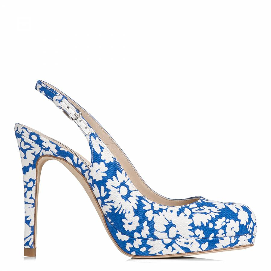 Blue/White Floral High Heel Court Shoes