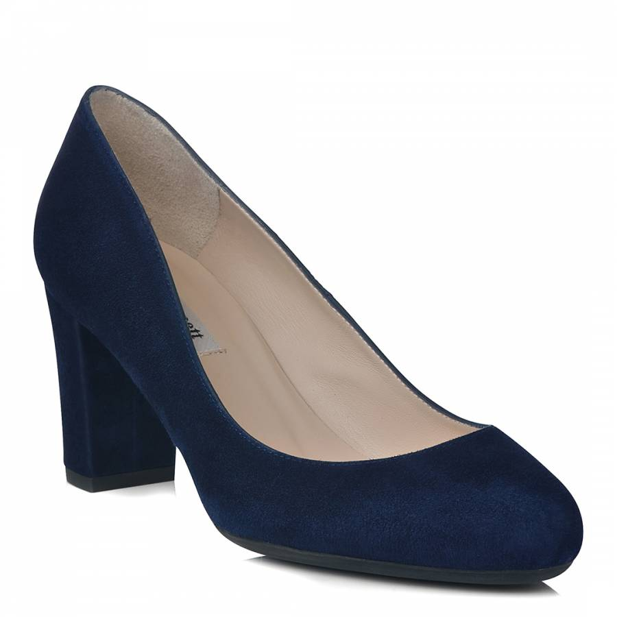navy suede high heels