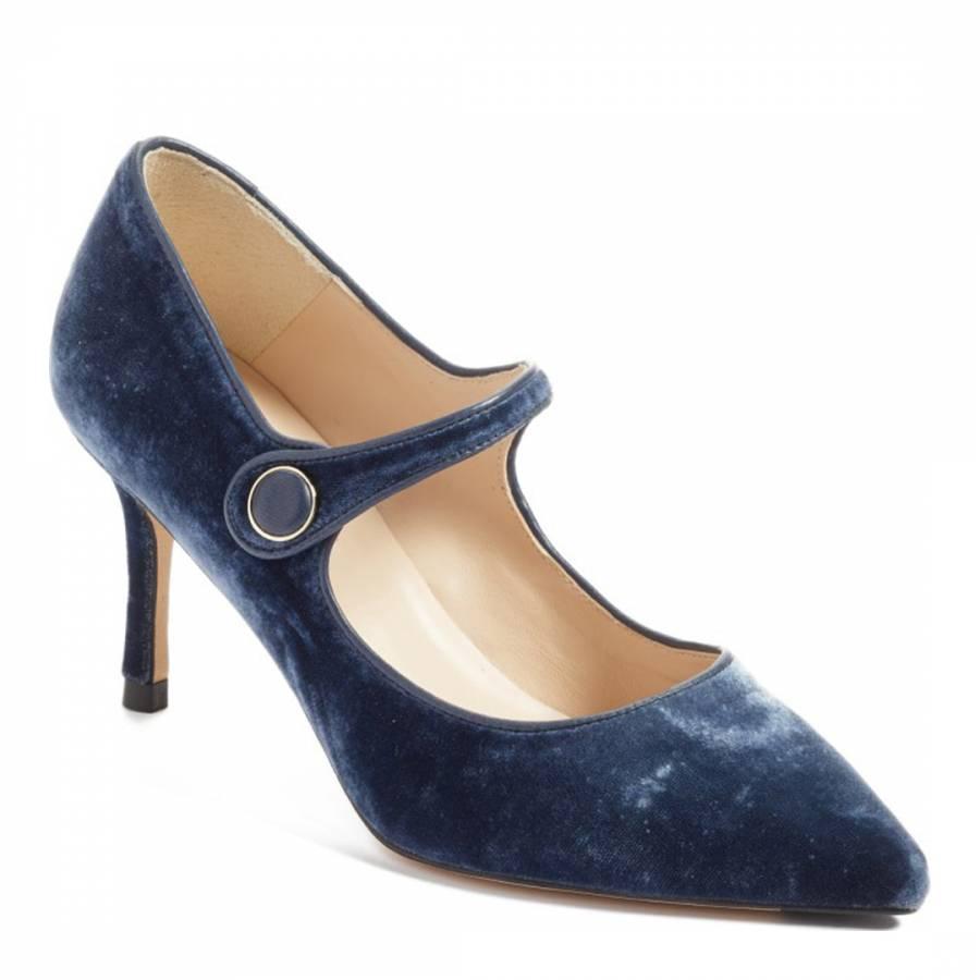 L K Bennett Blue Velvet Mary Jane Court Shoes