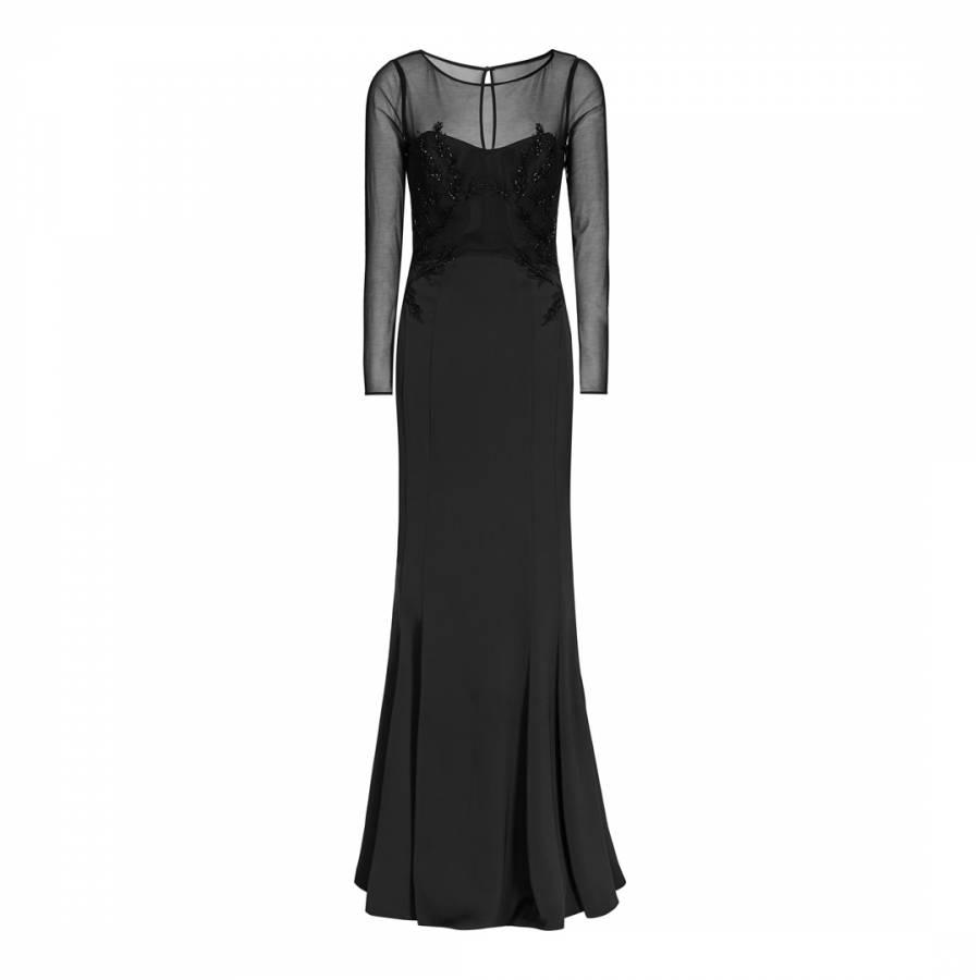 e7d2ca17e45 Black Ellil Embroidered Open Back Maxi Dress - BrandAlley