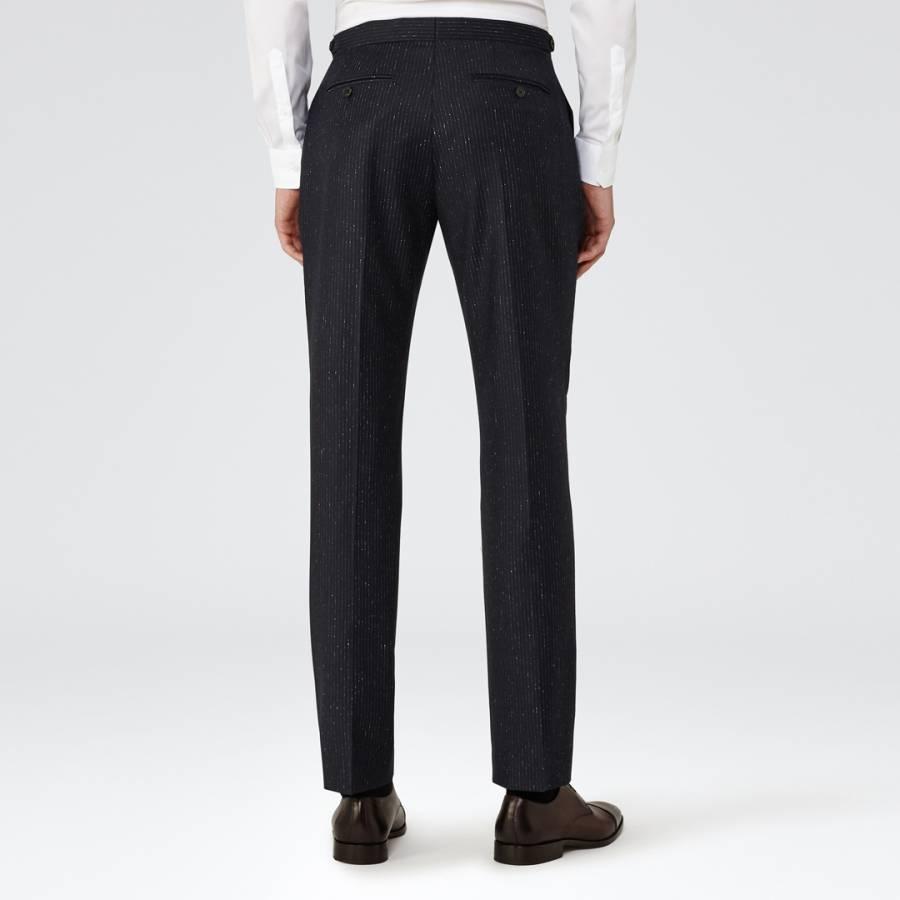 Navy Kreider Wool and Silk Blend Suit Trousers - BrandAlley