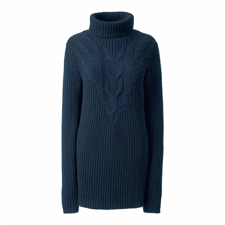 afce762882 Navy Cable Cotton and Wool Blend Jumper