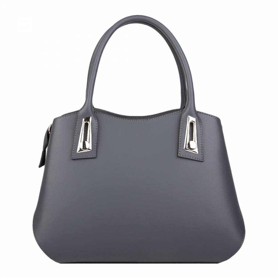 f96f5b7c3a555 Dark Grey Leather Tote Bag - BrandAlley