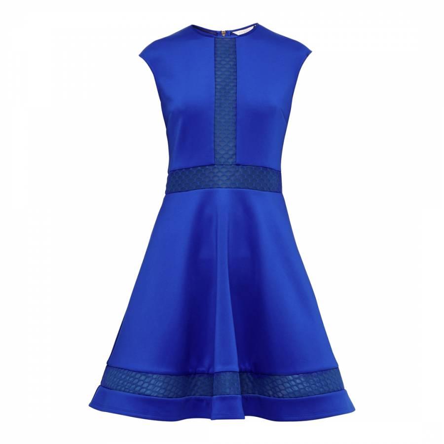 Bright Blue Glorry Mesh Detail Full Skirt Dress Brandalley