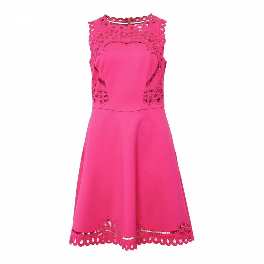 ba78b7de1 Bright Pink Verony Embroidered Skater Dress - BrandAlley