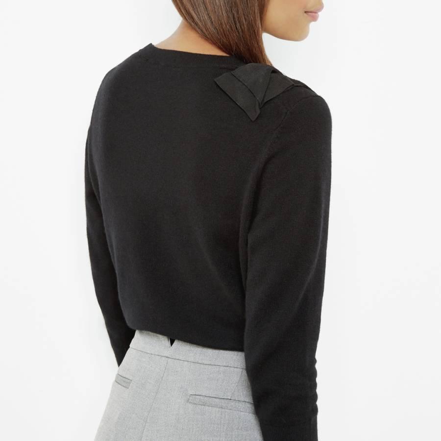 1aa4296ae8954 Black Callah Bow Detail Cashmere Wool Blend Jumper - BrandAlley
