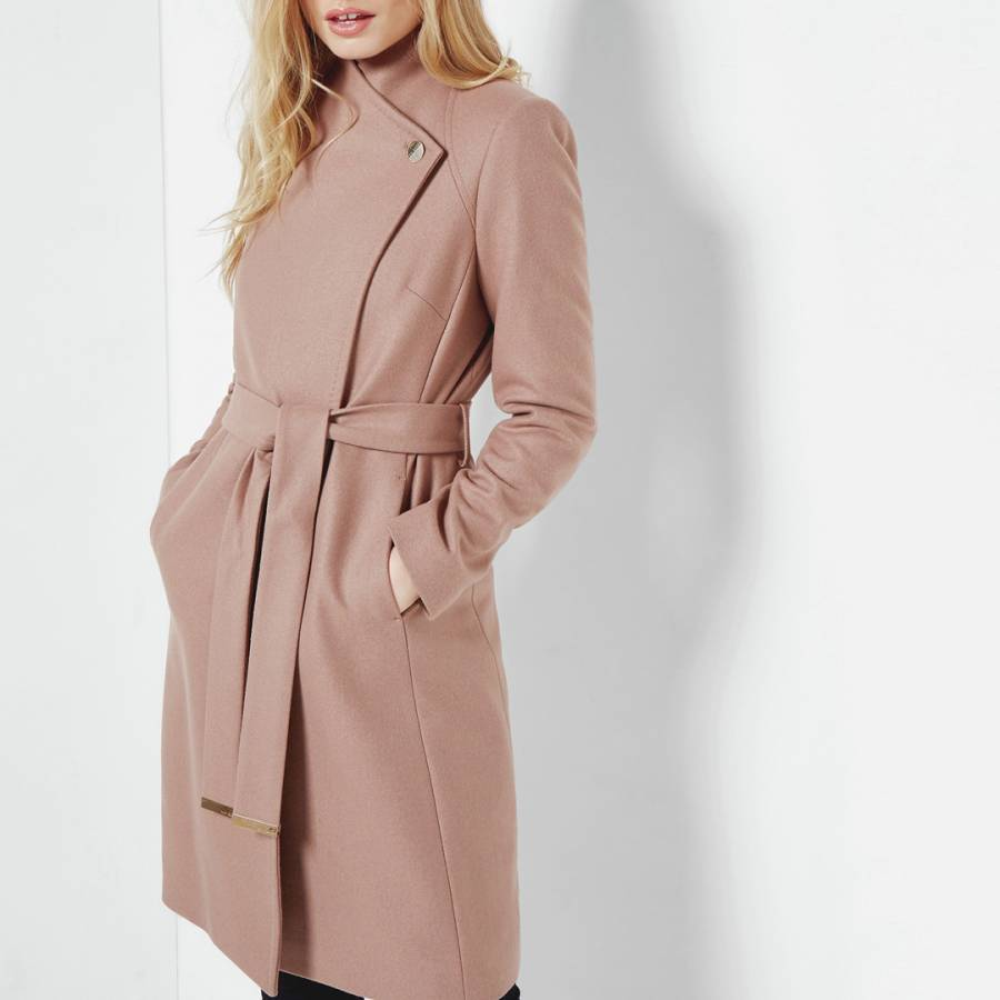 c2ae84b2 Camel Aurore Long Wrap Collar Wool/Cashmere Blend Coat - BrandAlley
