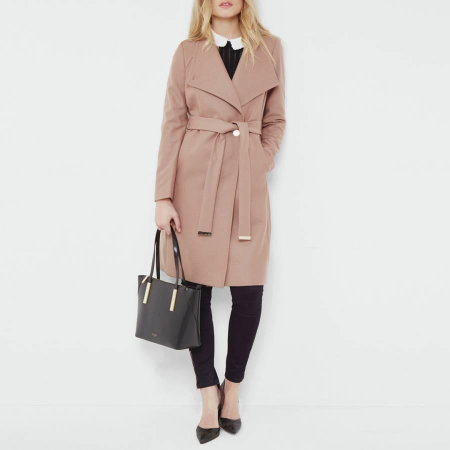 b827e002faa8d7 Camel Aurore Long Wrap Collar Wool Cashmere Blend Coat - BrandAlley