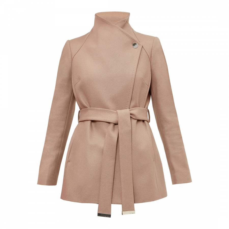a5d64d4ead7ee5 Camel Elethea Short Wrap Collar Wool Cashmere Blend Coat - BrandAlley