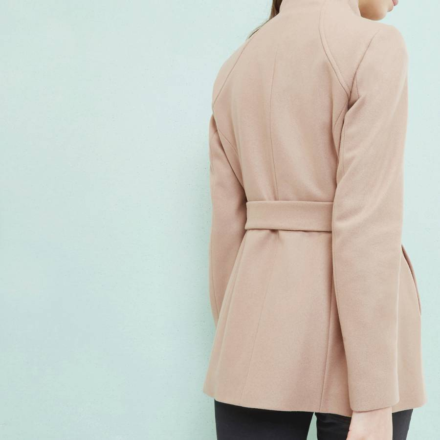 49aaf3578bea0 Camel Elethea Short Wrap Collar Wool Cashmere Blend Coat - BrandAlley
