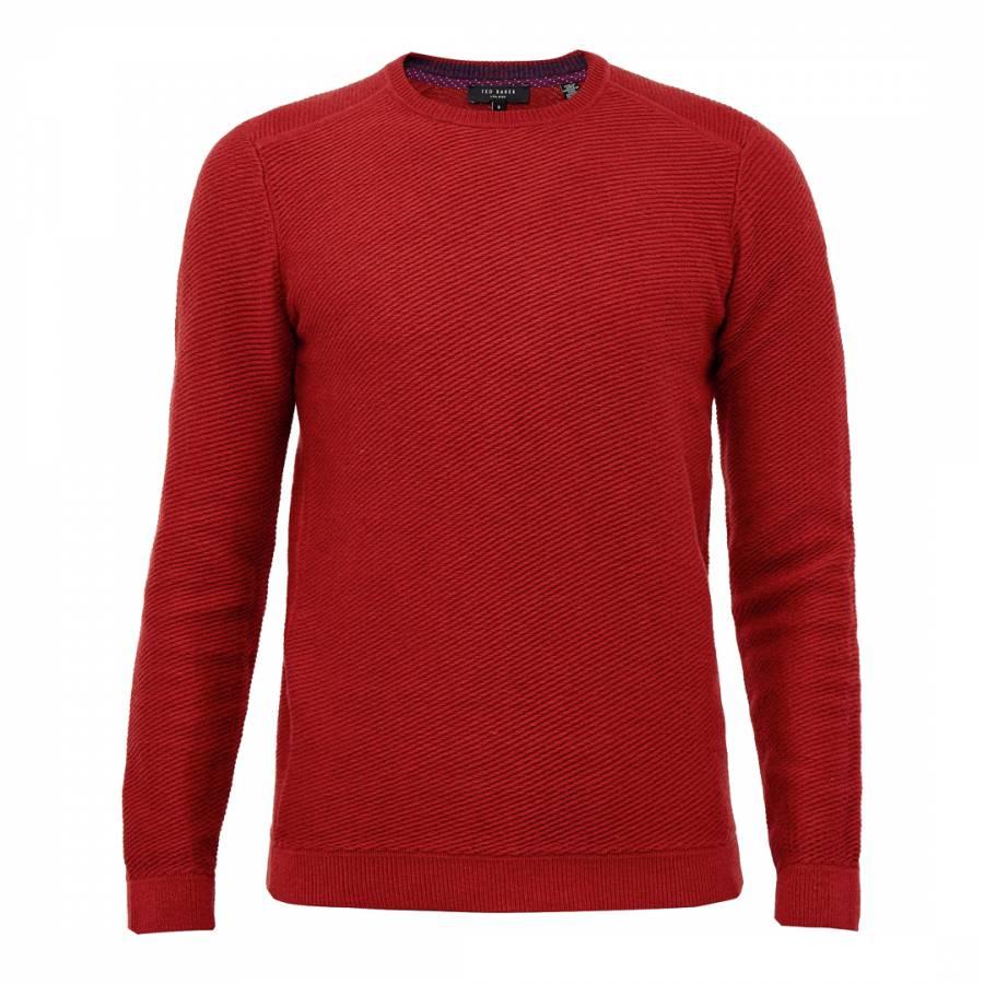 Ted Baker Orange Traffik Twill Stitch Wool/Cotton Blend Jumper