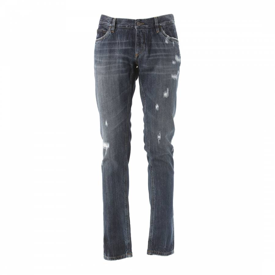 46217376fae Dolce & Gabbana Mens Blue Fade Distressed Skinny Cotton Jeans