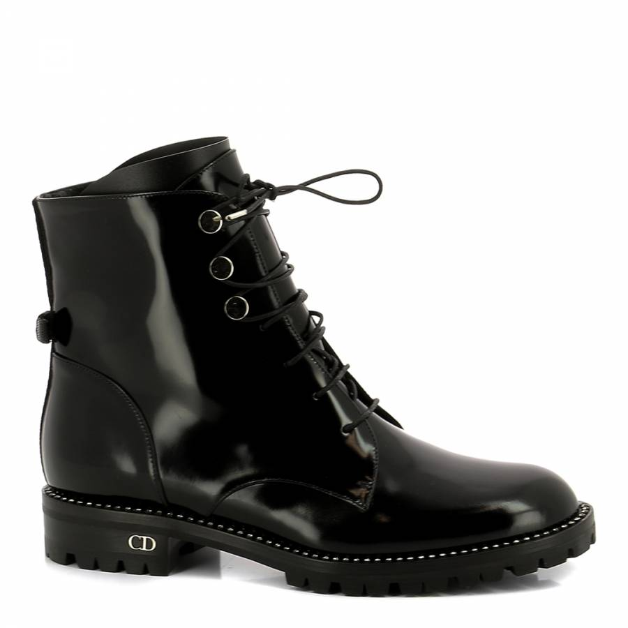 da7e4fb9694 Hi Shine Black Leather Christian Dior Ankle Boots - BrandAlley