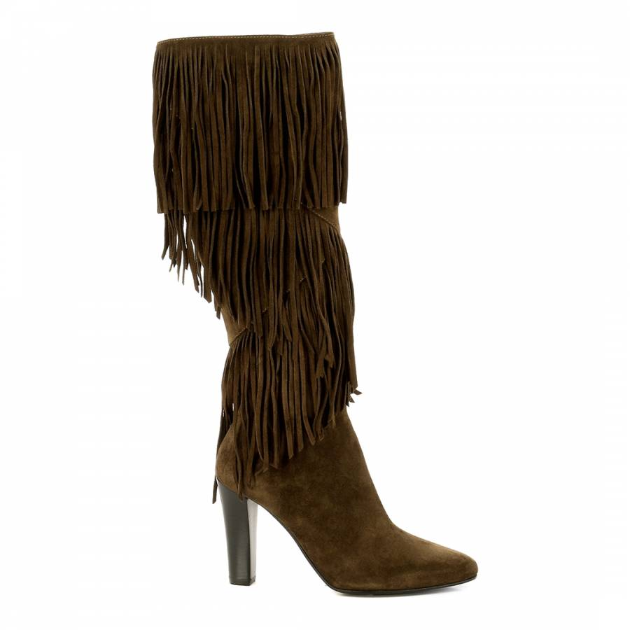 a44de7f0c82 Yves Saint Laurent Tan Brown Suede Fringe YSL Knee Boots