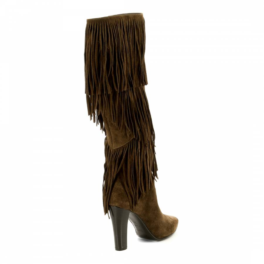 8870f61ec30 Tan Brown Suede Fringe YSL Knee Boots - BrandAlley