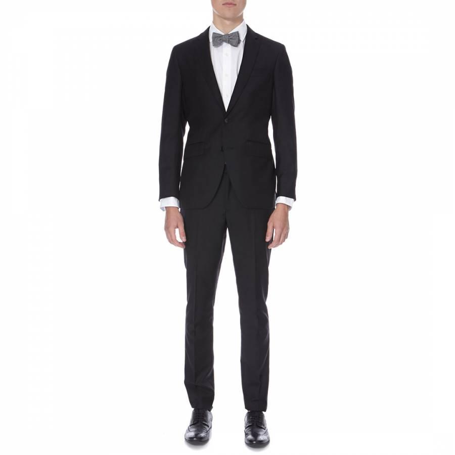5433abc229ff Hackett London Black Plain Slim Fit Wool Suit