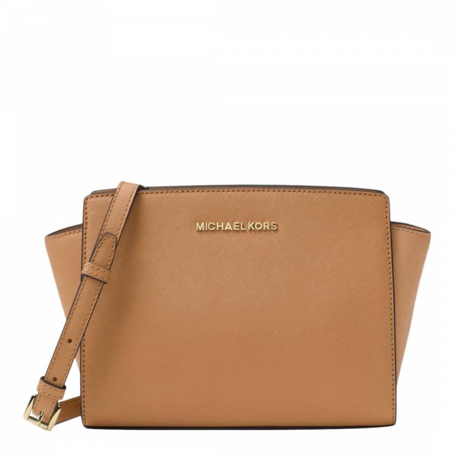 4a45f90b68c0 ... sweden michael kors acorn selma medium leather crossbody bag c7c8e bb428