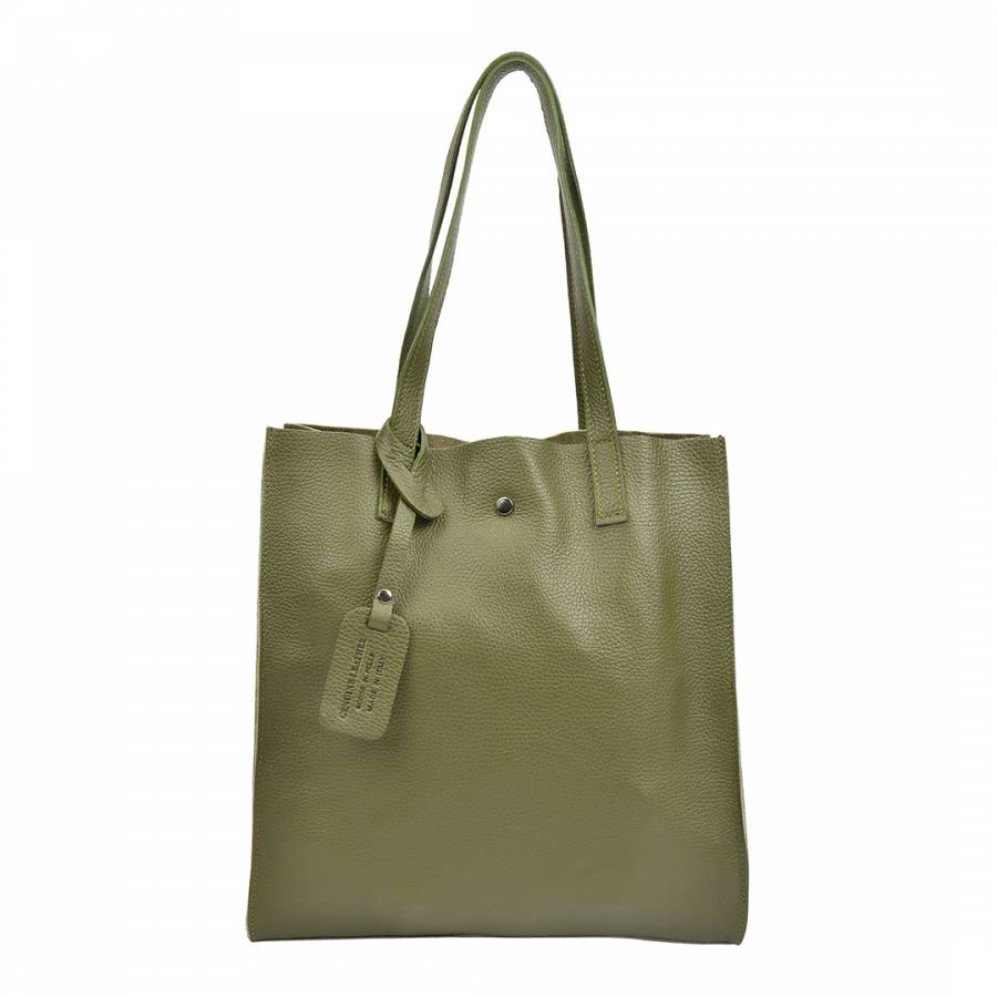 Isabella Rhea Olive Green Leather Tote Bag ba675fc0a04db