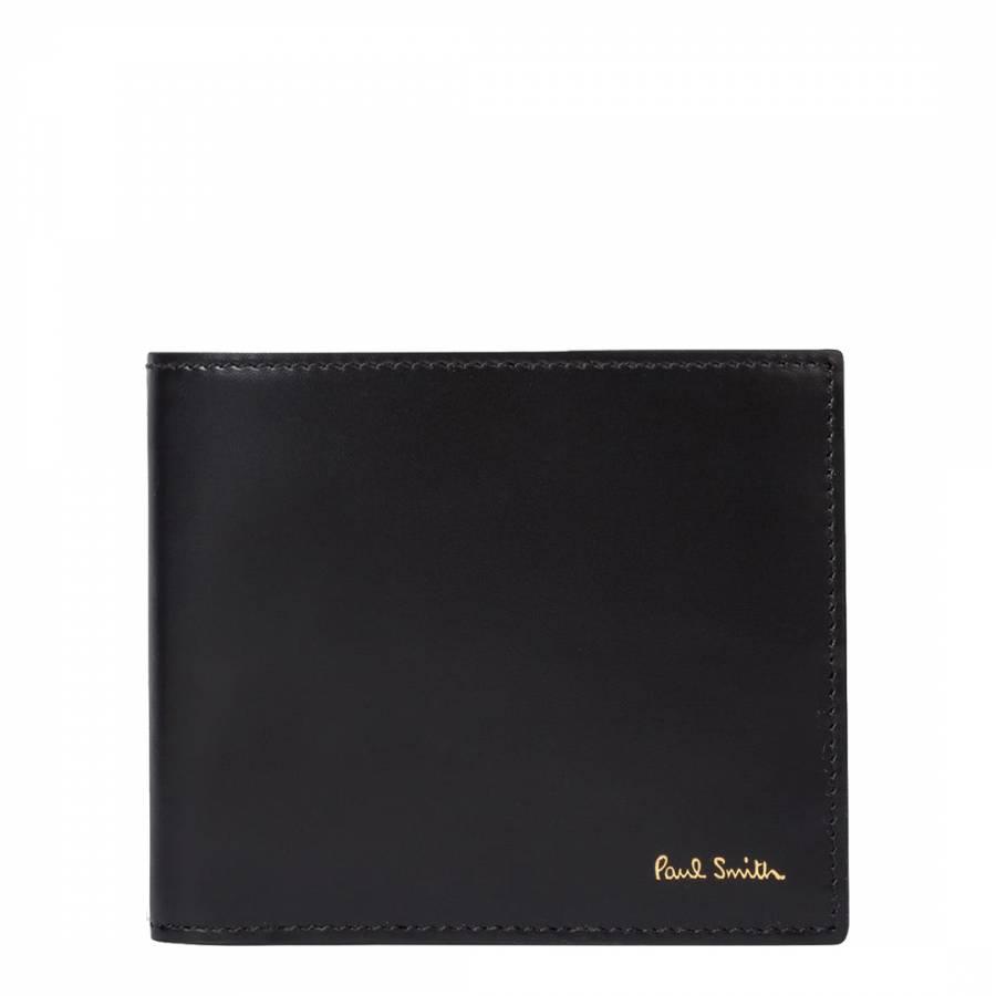 Mens Black Leather Signature Stripe Interior Compact Billfold Wallet Brandalley