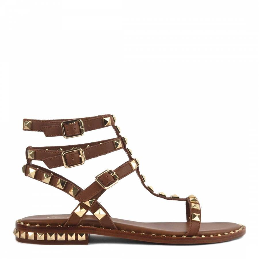 Tan Brown Leather Studded Poison