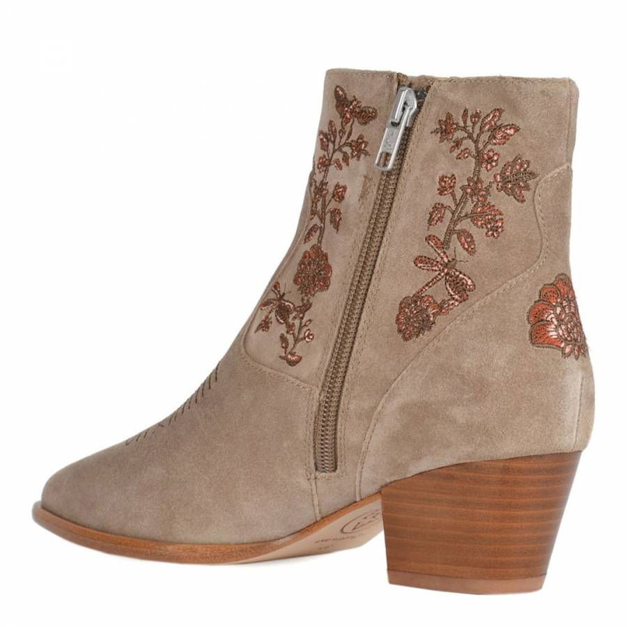 Beige Desert Suede Halo Embroidered Ankle Boots Brandalley
