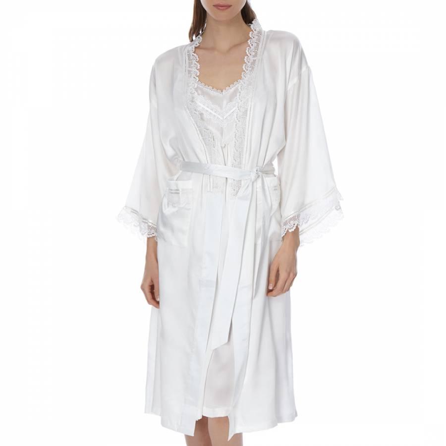 b2f99ab6a Laycuna London Ivory Silk Lace Kimono Dressing Gown