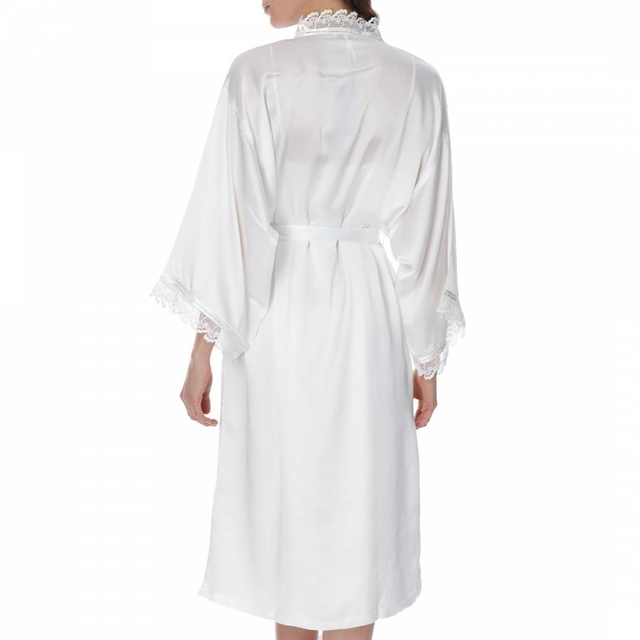 bd2d1761ad Ivory Silk Lace Kimono Dressing Gown - BrandAlley