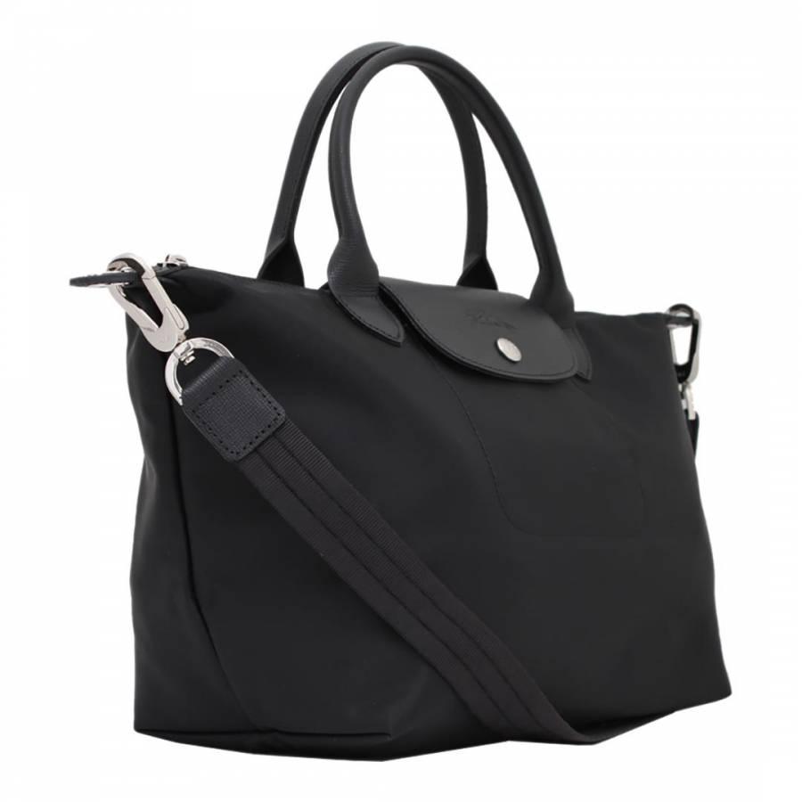 9d9a98140cc5 Longchamp Black Le Pliage Neo Removable Strap Small Canvas Bag. prev. next.  Zoom