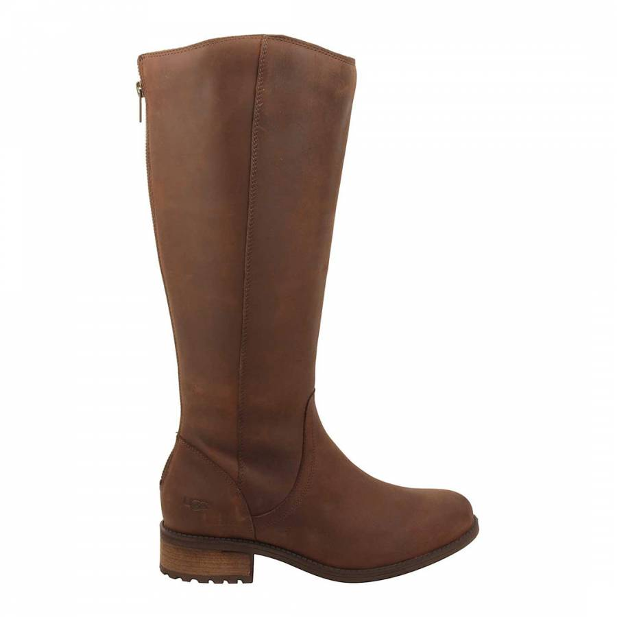 9abc0c25ecb UGG Brown Leather Seldon Flat Knee Boot