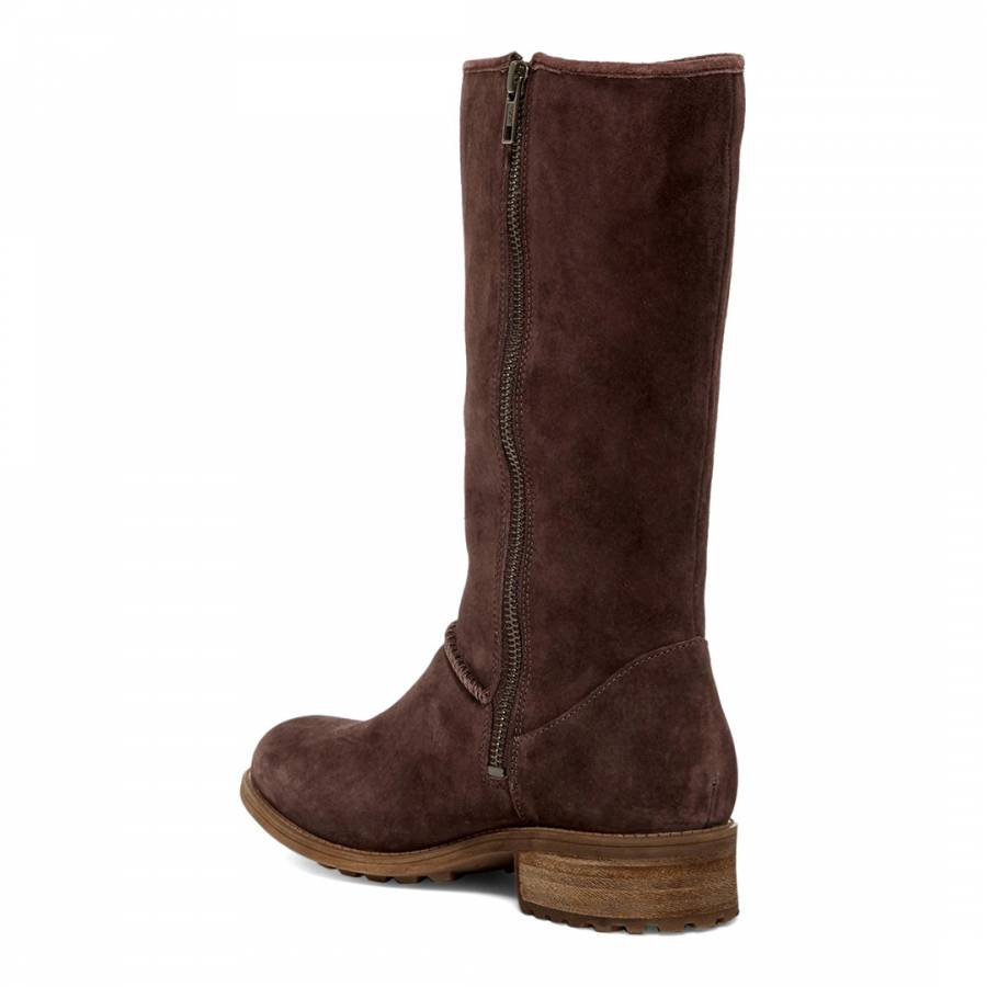 59933c0ac Demitasse Suede Linford Mid Length Flat Boot - BrandAlley