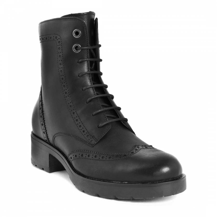 black lace up leather ankle boots brandalley