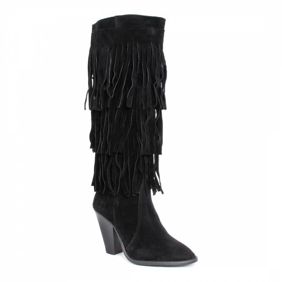 black bamba fringe suede boots brandalley