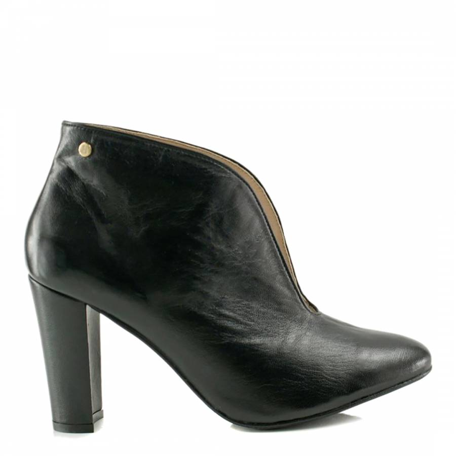 Black Leather Block Heel Boots - BrandAlley 2eb1acac971b1