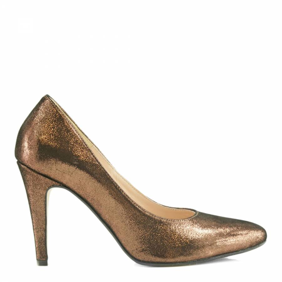 Dark Gold Leather Spike Heels - BrandAlley